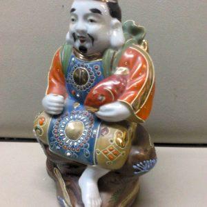 Antique japanese Kutani porcelain figurine hand painted Ebizu