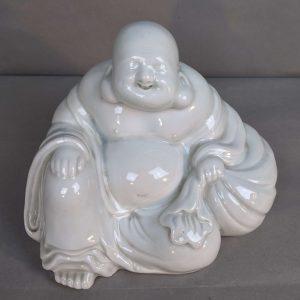 Large Vintage or Antique Japanese Porcelain Hotei Budai Putai Happy Buddha, Taisho or Showa, Kutani Nabeshima Hirado Izushi Arita Imari, Clair de Lune Pale Celadon
