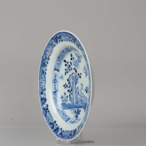 Antique 18th c Chinese Porcelain Plate Garden Rock & Butterfly