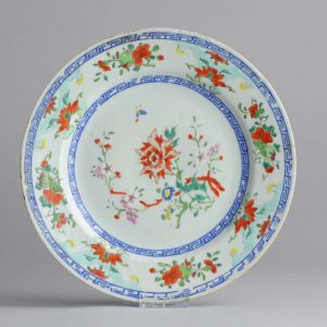 Ca 1800 Chinese Porcelain Plate Famille Rose Flowers Qing Antique
