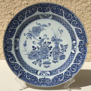Chinese Blue And White Kangxi Porcelain Plate Ø32CM 18thC.