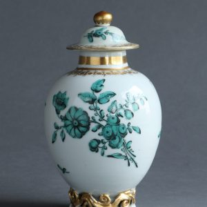 A Chinese export tea canister & cover with English decoration, Qianlong