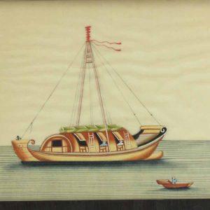 20ème.c Scène de bateau aquarelle à l'aquarelle chinoise encadrée