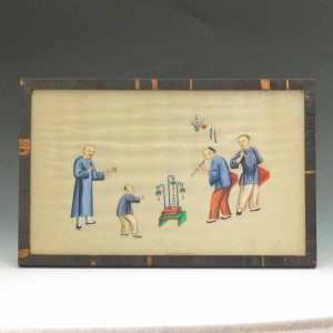 19th C, Pith Watercolor Street Scene With Entertainers