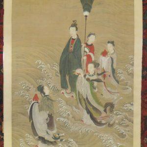 Rouleau de soie chinois de la dynastie Qing He Xiangu Immortel avec des vagues d'accompagnateurs