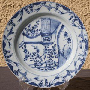 Chinois Bleu et Blanc Kangxi Grande plaque de porcelaine Ø27,4CM