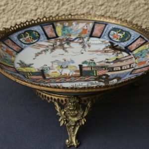 19th century Large Japanese Imari Porcelain plate in bronze mounts