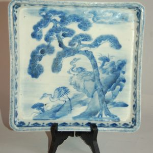 Cranes and pine tree by the see, dish, porcelain with underglaze blue decor, Japan