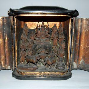 Benzaiten, jugodoji, Ugajin and Amida in zushi portable shrine, Japan