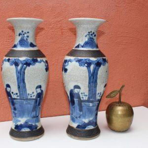 Paire de vases en porcelaine antique chinoise 19ème siècle Tongzhi, dynastie Qing