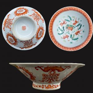 Antique Chinese bowl on foot Carps Goldfish Bats and longevities Late Qing #769