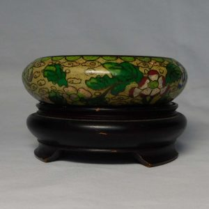 Cloisonné Brush washer, flowers and leaves motif.