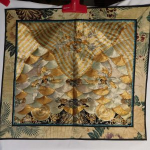 Silk Embroidery Panel in gold and silver thread.
